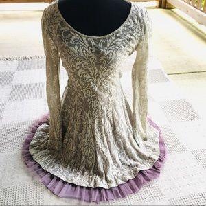 Free People Romantic Lace Ivory Purple Dress